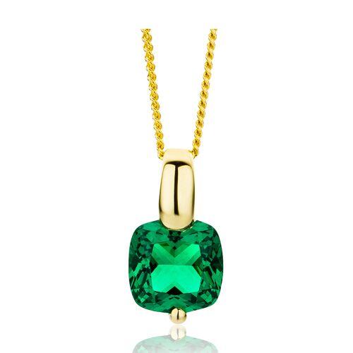 Diamant PUR Halskette, 375 Gelbgold, Smaragd