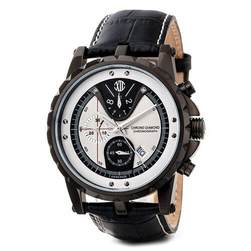 Chrono Diamond Quarzuhr Furia, Chronograph, Lederarmband, schwarz