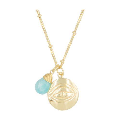 Moonstone Anhänger + Halskette Iva, Amazonit gold
