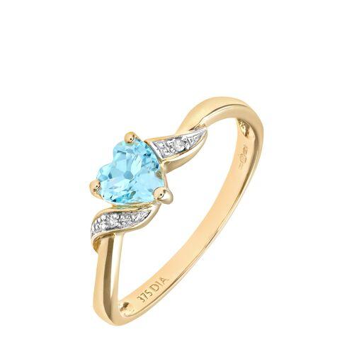 Diamant PUR Ring, 375 Gelbgold, Diamant/Topas