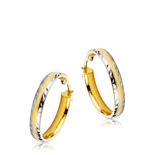 Diamant PUR Creolen, 585 Gelb-/Weißgold bunt