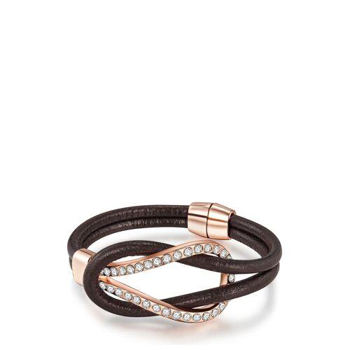 Sophia Palmas Armband, Leder, Glaskristalle schwarz