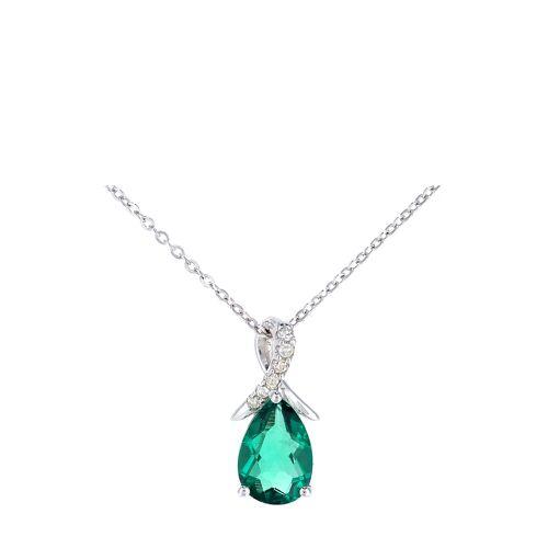 Rinani Halskette, 375 Weißgold, Diamant, Smaragd silber