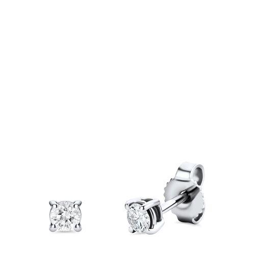 Diamant PUR Ohrstecker, 585 Weißgold, Diamant silber
