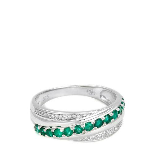 Diamanta Ring Entrelacs, 375 Weißgold, Diamant, Smaragd silber