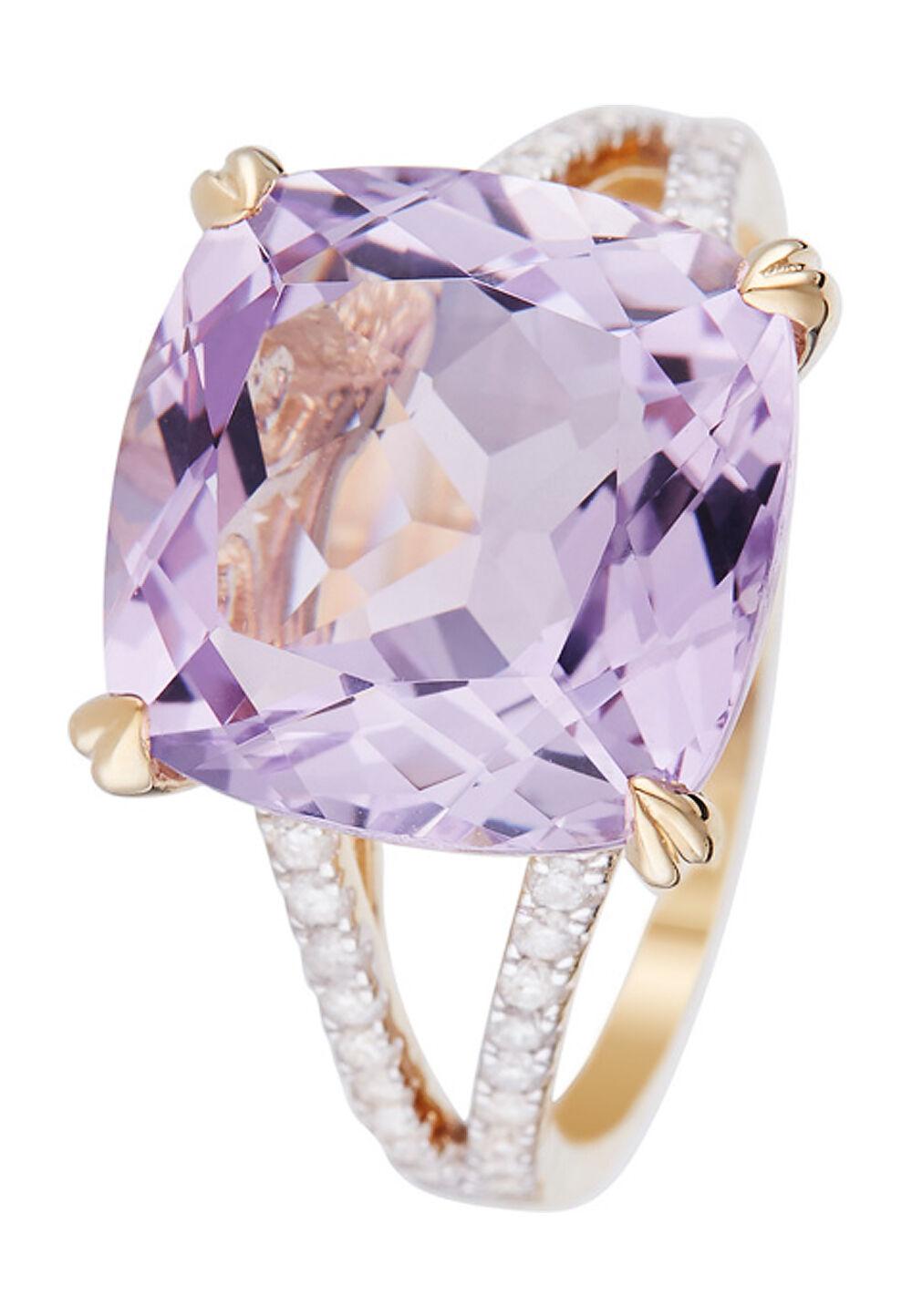 Diamond CO Ring Pink Fiction, 375 Gelbgold, Diamant/Amethyst
