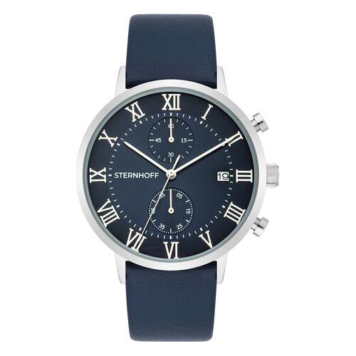 Sternhoff Chronograph ST 900, Lederarmband, silbern blau