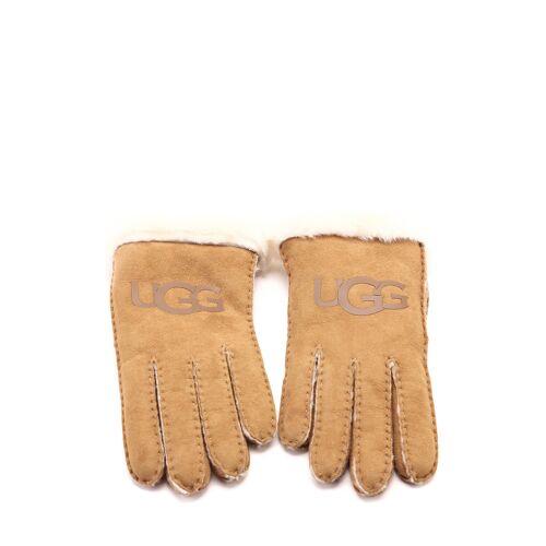 UGG Handschuhe Logo, Leder/Lammfell beige