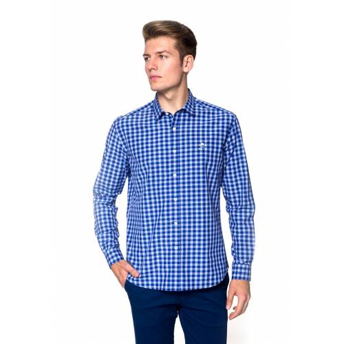 Polo Club Hemd, Langarm, Kentkragen blau