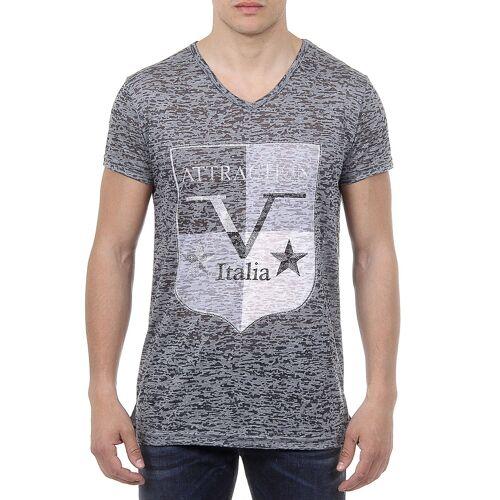 19V69 Italia T-Shirt, V-Ausschnitt, schmaler Schnitt bunt