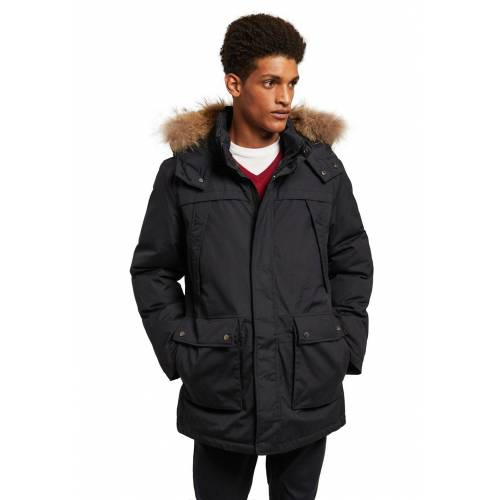 Polo Club Parka, Echtfell, Kapuze, Regular Fit blau
