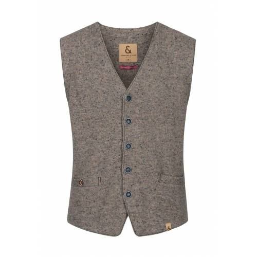 Colours&sons Weste, V-Ausschnitt, gerader Schnitt grau