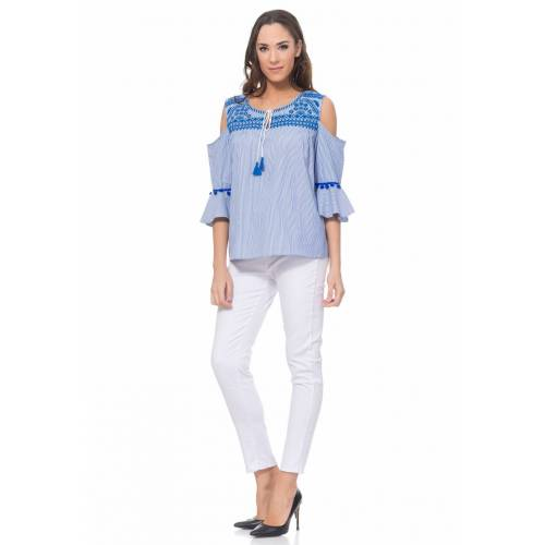 Tantra Bluse, 3/4-Arm, Cold-Shoulder blau