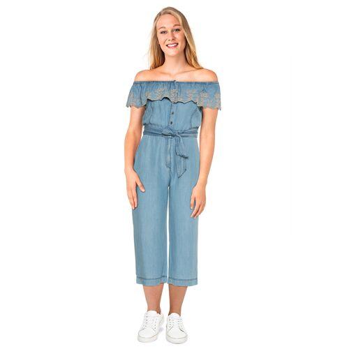 Pepe Jeans Jumpsuit Guiomar, Kurzarm, Carmen-Ausschnitt blau