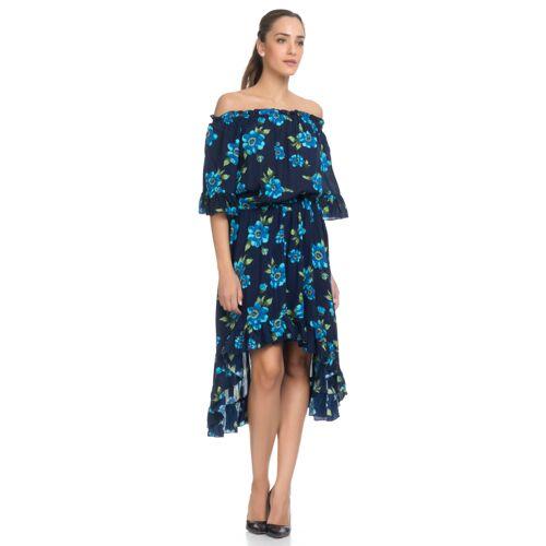 Tantra Kleid, 3/4-Arm, Off-Shoulder blau