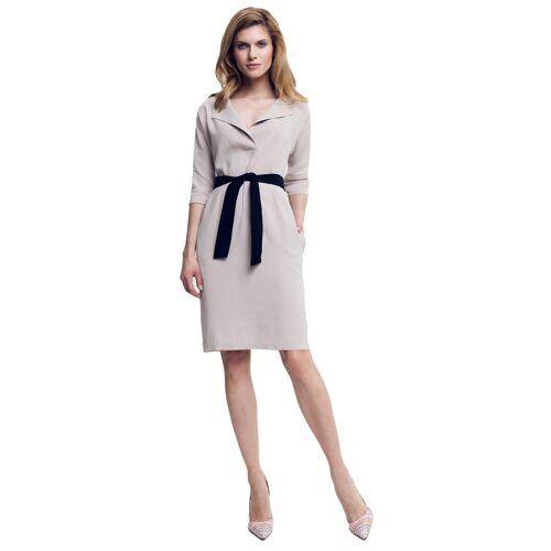 Peperuna Kleid, 3/4-Arm, Reverskragen beige