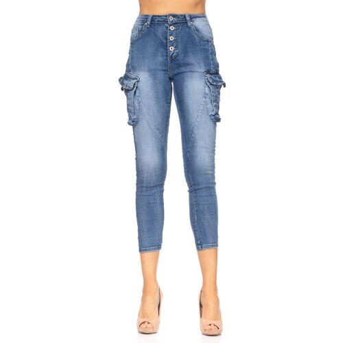 Tantra Cargo-Jeans, 3/4-Länge, Slim Fit blau