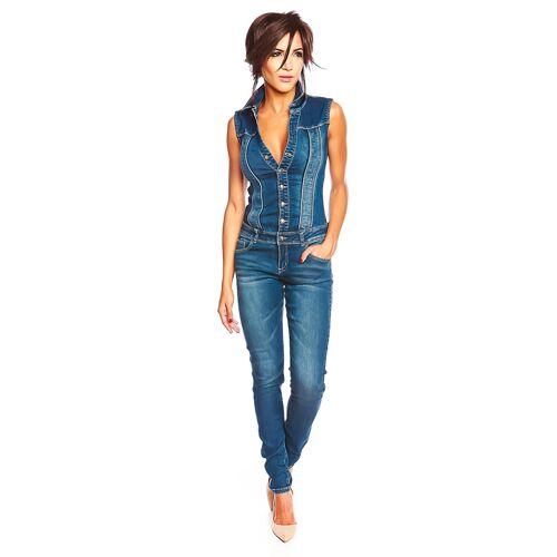 Special Jeans Jeans-Overall Kelly, ärmellos, Umlegekragen blau