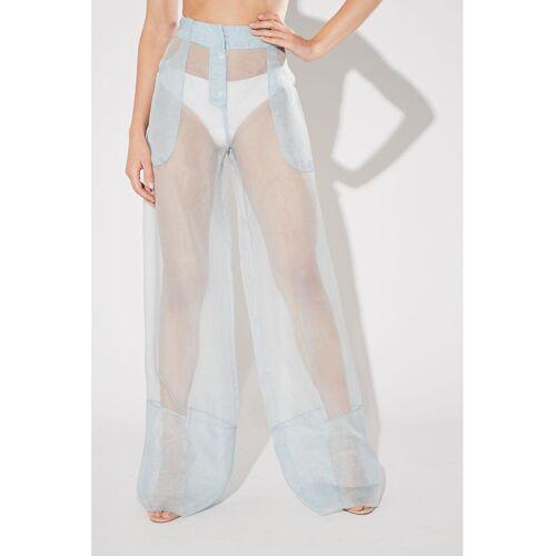 LA Perla Pyjama-Hose, lang, Seide blau