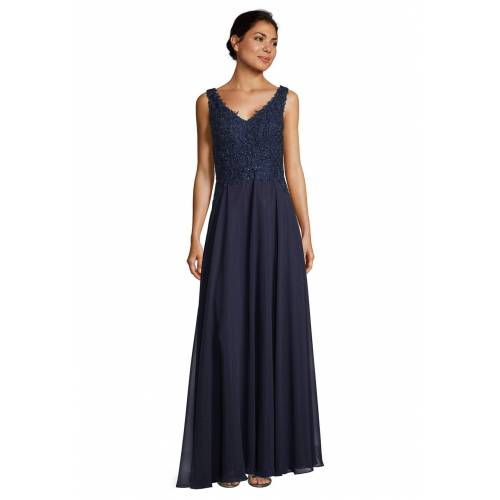Vera Mont Abendkleid, ärmellos, V-Ausschnitt blau