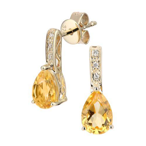 Diamant PUR Ohrstecker, 375 Gelbgold, Diamant