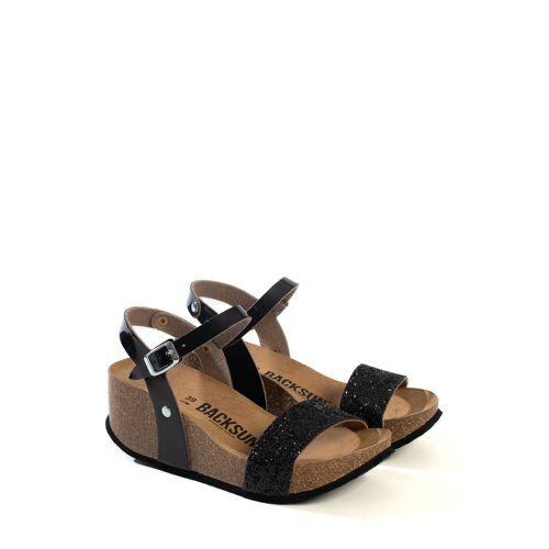 Backsun Keil-Sandaletten Valence, Absatz 7 cm schwarz