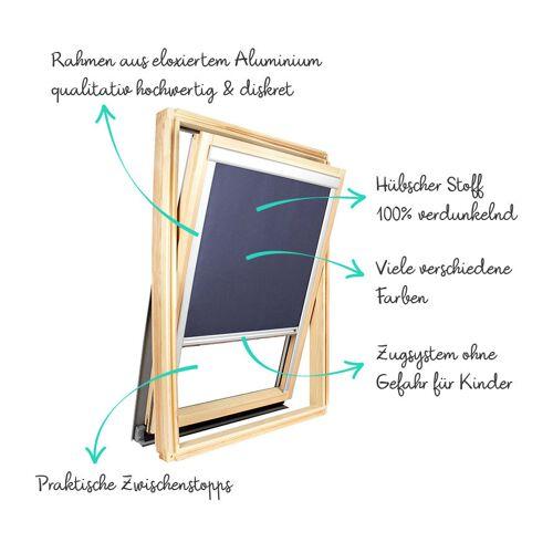 AVOSDIM Verdunkelungsrollo für Roto ® Dachfenster Grauer Alu-Rahmen