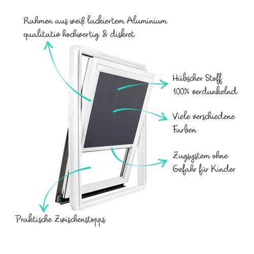 AVOSDIM Verdunkelungsrollo für Velux ® Dachfenster Weißer Alu-Rahmen