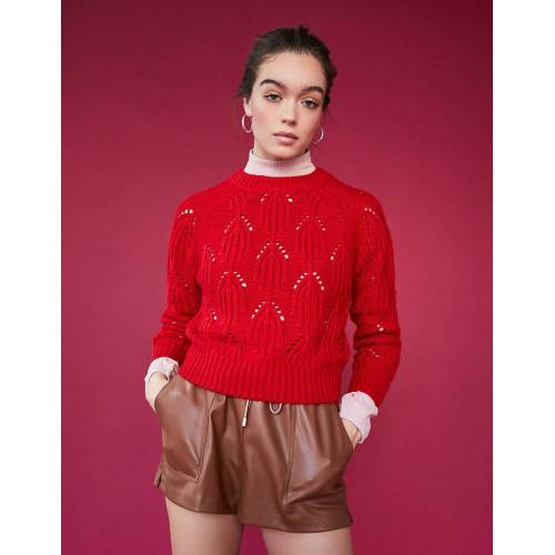 TW Roter Pointelle Pullover Rot female XL