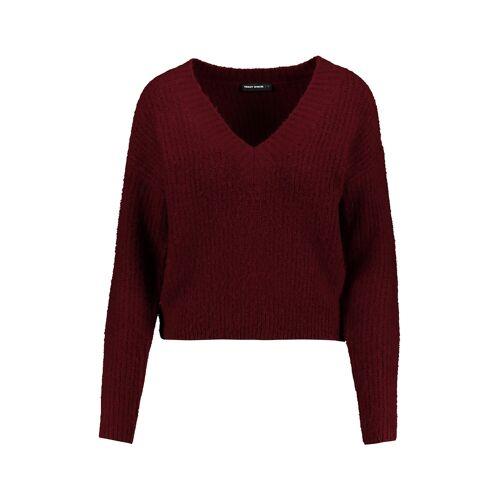 TW Bordeauxroter V-Ausschnitt-Pullover Rot female XS