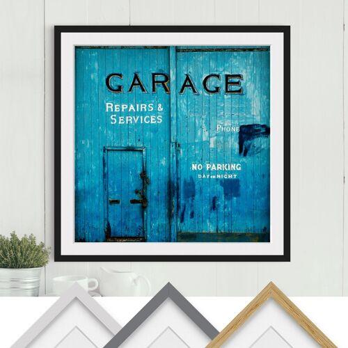 47.95 Bild mit Rahmen - Garagentor - Quadrat 1:1