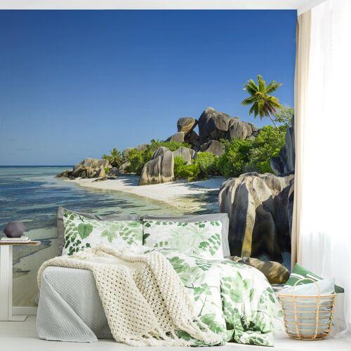 Bilderwelten DE Tapete selbstklebend - Traumstrand Seychellen - Fototapete Quadrat