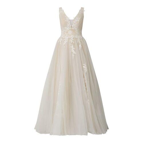 luxuar Brautkleid aus Mesh mit Stickereien