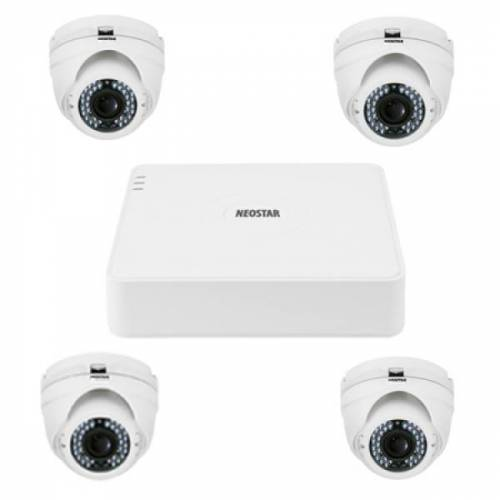 Video Überwachungssystem mit 4xIR Dome-Kamera 720TVL