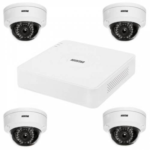 Netzwerk-IP Videoüberwachung Set für Außenbereich 4xIR Netzwerk-Domekamera, 4 Kanal IP Netzwerk Rekorder NVR -IS-IPKS24