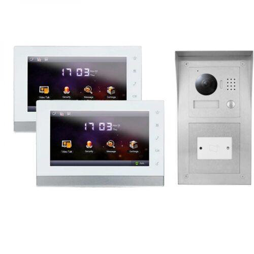 """IP Klingelanlage mit Kamera für 1-Familienhaus mit Aufputz RFID-Außenstation und 2x7"""" LCD-2IPSET01R"""