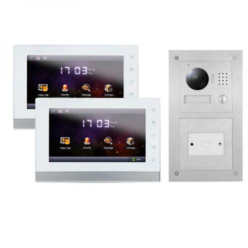 """IP Klingelanlage mit Kamera für 1-Familienhaus mit Unterputz RFID-Außenstation und 2x7"""" LCD-2IPSET11R"""