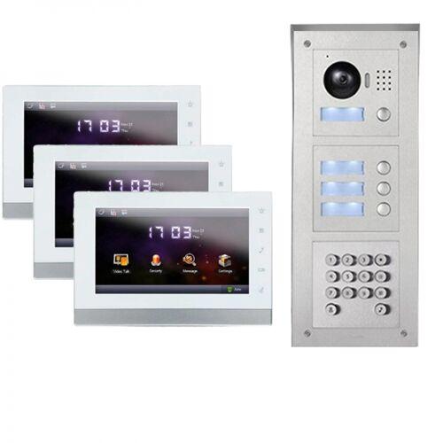 """IP Türklingel mit Kamera für 3-Familienhaus mit Code-Funktion Aufputz Außenstation und 3x7"""" LCD-3IPSET04C"""