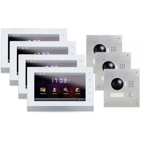 """IP Türklingel mit Kamera für 1-Familienhaus mit 3xUnterputz Außenstation und 4x7"""" LCD-4IPSET13"""