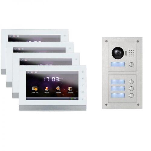 """IP Türklingel mit Kamers für 4-Familienhaus mit Unterputz Außenstation und 4x7"""" LCD-4IPSET11R4"""