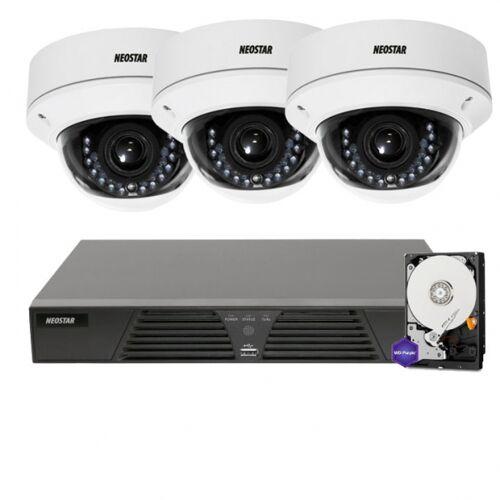 Netzwerk-IP Videoüberwachung Set für Außenbereich 3xIP Dome Netzwerkkamera, 2,8-12mm, 4 Kanal NVR mit PoE -IS-IPKS34
