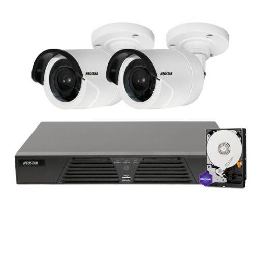 Netzwerk-IP Videoüberwachung Set für Außenbereich 2xIR Netzwerkkamera, 20m Nachtsicht, 4 Kanal IP NVR mit PoE inkl.1TB -IS-IPKS16