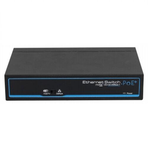 4x PoE Netzwerk Switch, 2x Uplink-Ports, 60W, CCTV-Modus, Metallgehäuse