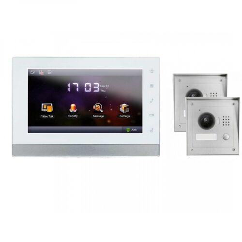 """IP Klingelanlage mit Kamera für 1-Familienhaus mit 2xAufputz Außenstation und 7"""" LCD-IS-IPSET02"""