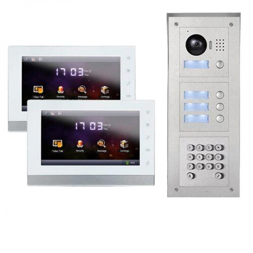 """IP Türklingel mit Kamera für 2-Familienhaus mit Code-Funktion Aufputz Außenstation und 2x7""""LCD-2IPSET04C"""