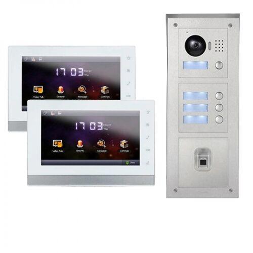 """IP Türklingel mit Kamera für 2-Familienhaus mit Fingerprint Aufputz Außenstation und 2x7""""LCD-2IPSET04F"""