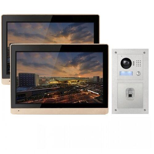 """IP Türklingel mit 2x10"""" LCD und Unterputz-Außenstation mit Fingerprint-2IPSET1011F"""
