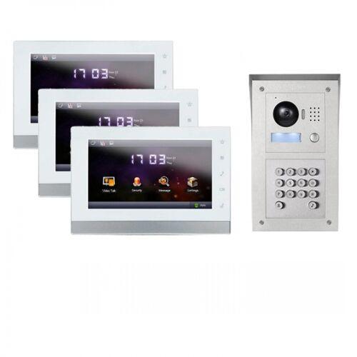 """IP Aufputz Türklingel mit Kamera und Code-Funktion und 3x7"""" Innenstation-3IPSET01C"""