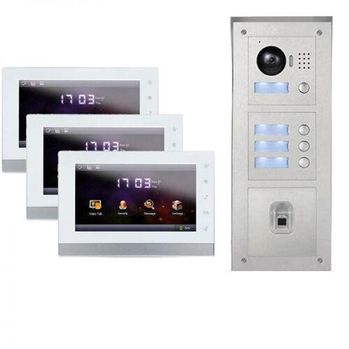 """IP Türklingel mit Kamera für 3-Familienhaus mit Fingerprint Aufputz Außenstation und 3x7""""LCD-3IPSET04F"""