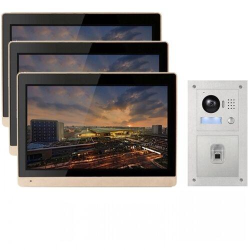 """IP Türklingel mit 3x10"""" LCD und Unterputz-Außenstation mit Fingerprint-3IPSET1011F"""